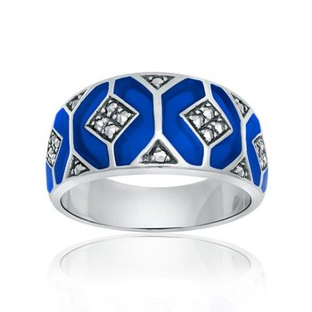 Thin Blue Enamel Ring