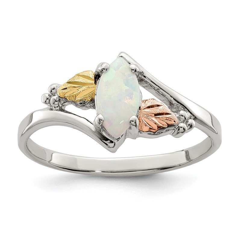 Quality Gold Sterling Silver & 12k Created Opal Ring