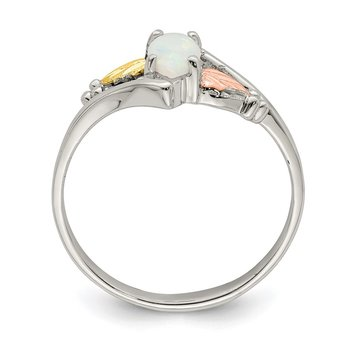 Sterling Silver & 12k Created Opal Ring