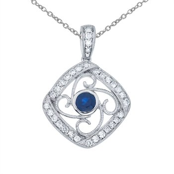 14k White Gold Sapphire and Diamond Fashion Pendant