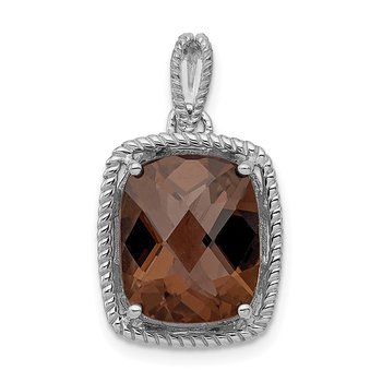 Sterling Silver Rhodium-plated Smoky Quartz Pendant