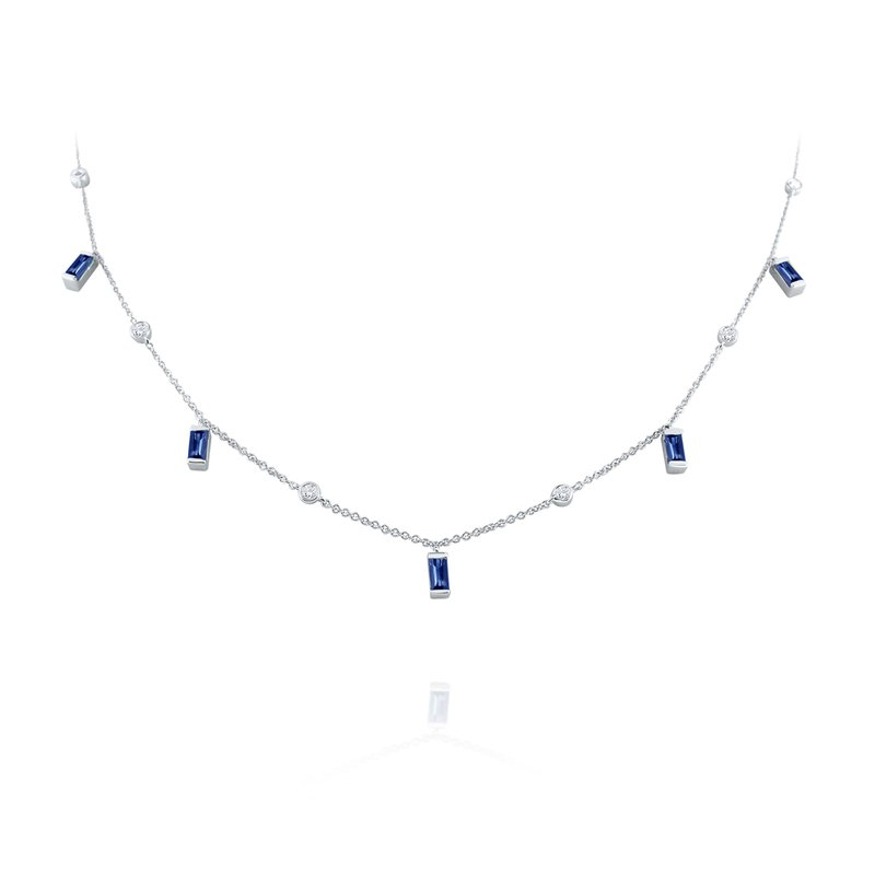 MAZZARESE Fashion Hanging Baguette Sapphire & Diamond Station Necklace Set in 14 Kt. Gold