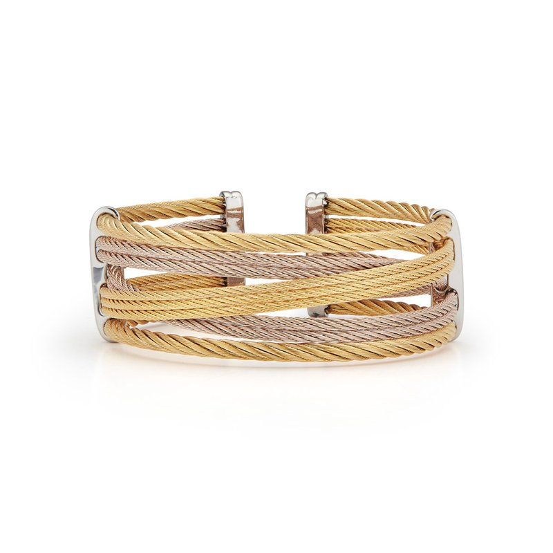ALOR Yellow & Carnation Cable Petite Interlaced Bracelet
