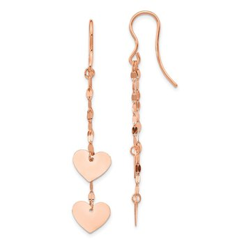 14k Rose Gold Heart Dangle Earrings