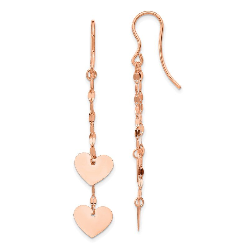 Quality Gold 14k Rose Gold Heart Dangle Earrings