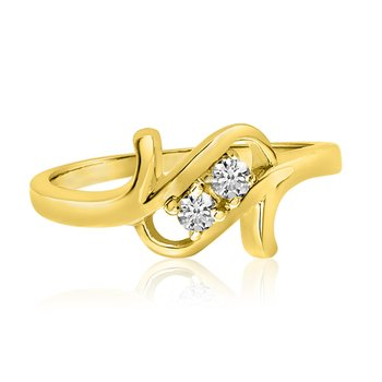 14K Yellow Gold Twist Two-Stone Diamond Ring