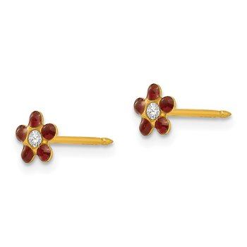 Inverness 14k January Red Crystal Birthstone Flower Earrings