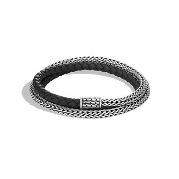 Classic Chain 5MM Triple Wrap Bracelet in Silver with Leather