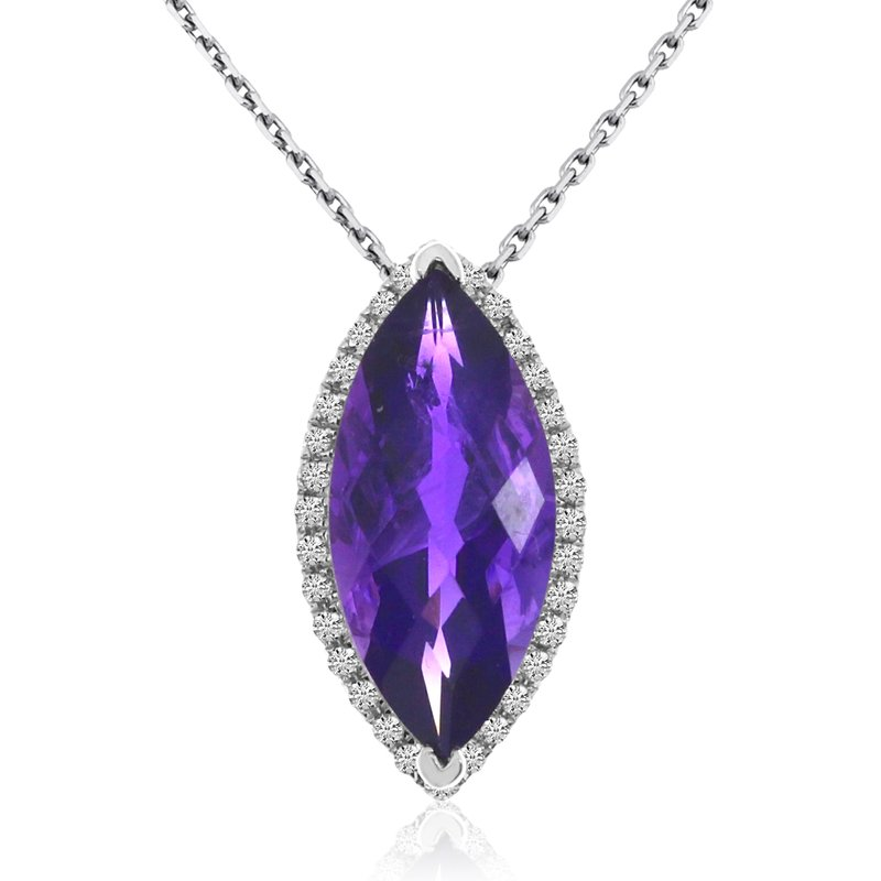 Color Merchants 14k White Gold Marquis Amethyst and Diamond Pendant
