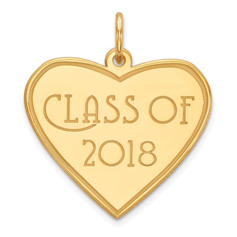 Quality Gold 14k Class of 2018 Heart Charm
