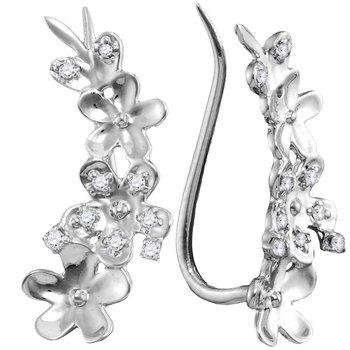 10kt White Gold Womens Round Diamond Floral Climber Earrings 1/10 Cttw