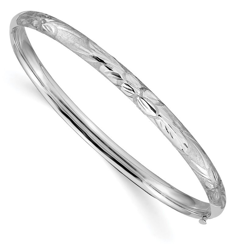 Quality Gold 14k 3/16 White Gold Florentine Engraved Hinged Bangle