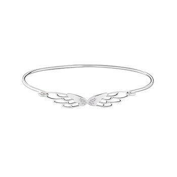 PAVE' WINGS Bangle Bracelet Med/Lg Swar White PB Zirconia Sterling Silver, Lt. Ox