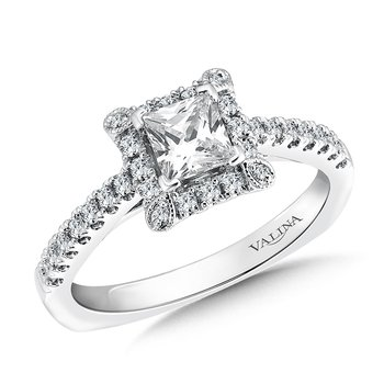 Square shape halo mounting  .28 ct. tw.,  1/2 ct. Princess cut center.