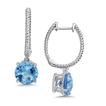Sterling Silver Blue Topaz Dangle Hoop Earrings