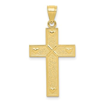 10K Cross W/GOD LOVES ME On Reverse Pendant