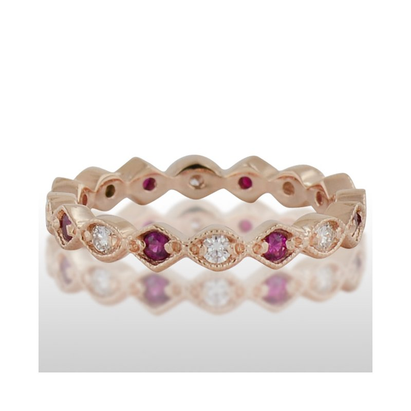 Novell Ladie's Pink Gold Ruby and Diamond Ring