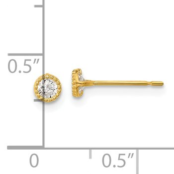 14k Madi K Milgrain Bezel CZ Post Earrings