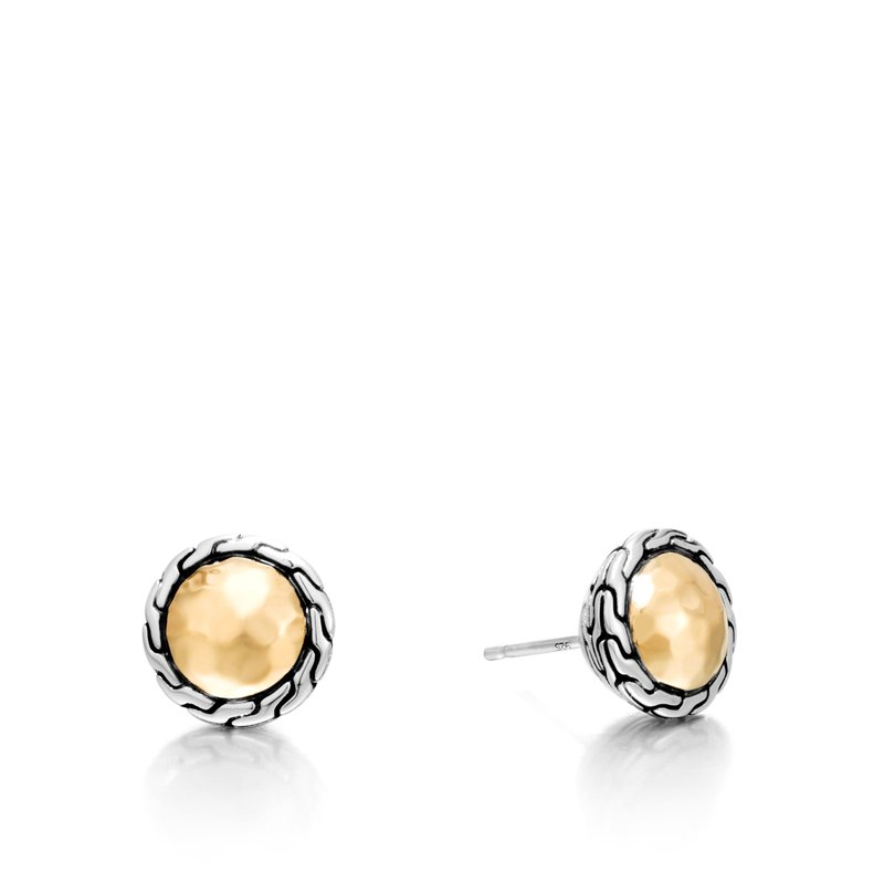 John Hardy Classic Chain Round Stud Earring in Silver and 18K Gold