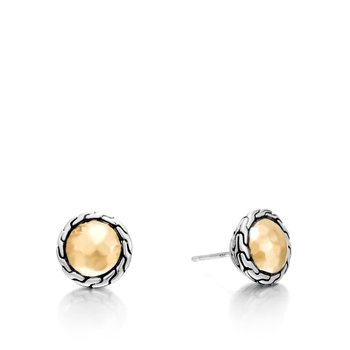Classic Chain Round 12MM Stud Earring in Silver and 18K Gold