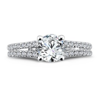 Split Shank Engagement Ring with Side Stones in 14K White Gold (1ct. tw.)