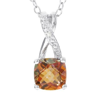 Sterling Silver Sunset Topaz and Diamond Accent Pendant Necklace