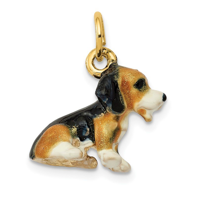 Quality Gold 14k 3D Enameled Small Beagle Charm