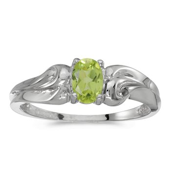 10k White Gold Oval Peridot Ring