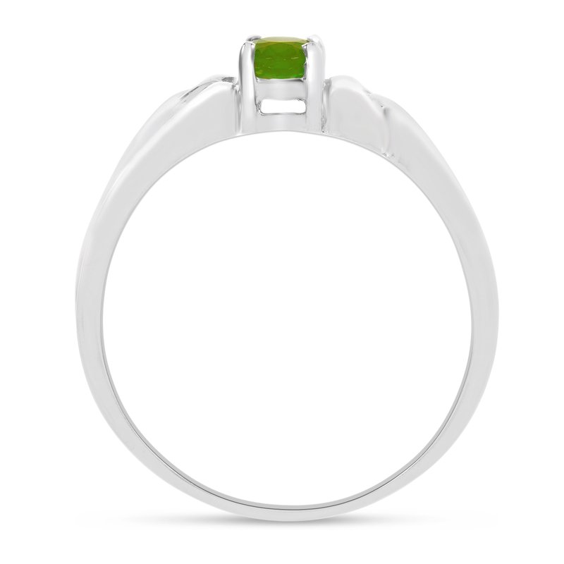 Color Merchants 10k White Gold Oval Peridot Ring