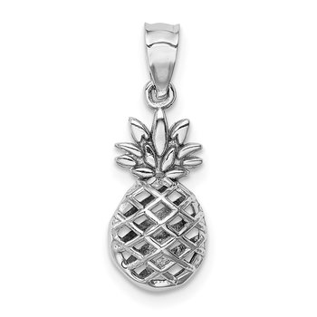 14K White Polished 3D Pineapple Pendant