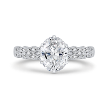 18K White Gold Oval Diamond Engagement Ring with Milgrain (Semi-Mount)