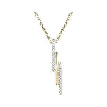 10kt Yellow Gold Womens Round Diamond Triple Vertical Bar Pendant 1/8 Cttw