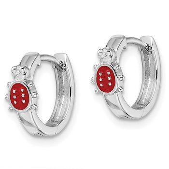 Sterling Silver Madi K RH Plated Childs Enameled Ladybug Hinged Hoops