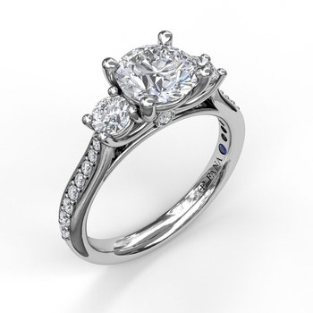 Classic Three Stone Single Row Engagement Ring