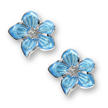 Sterling Silver Violet Flower Stud Earrings-Blue.