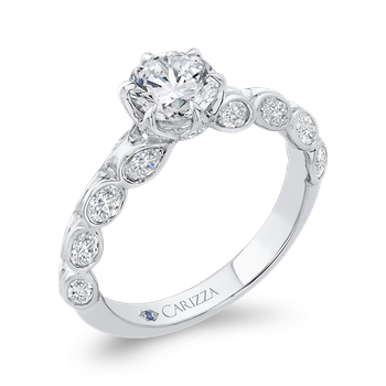 18K White Gold Bezel Set Double Row Round Diamond Engagement Ring (Semi-Mount)