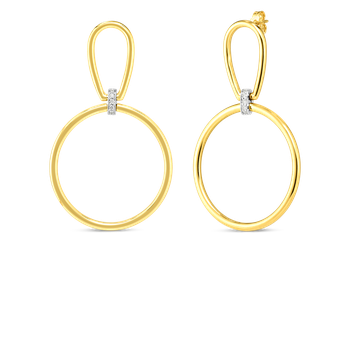 18K OPEN STIRRUP & CIRCLE DROP ER WITH DIAMOND ACCENT