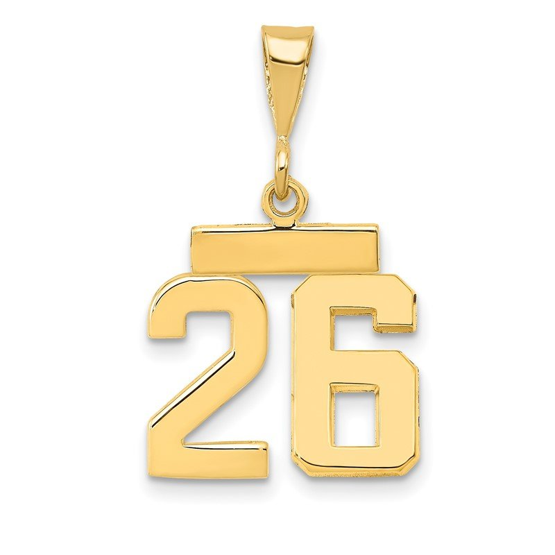Quality Gold 14k Small Polished Number 26 Charm