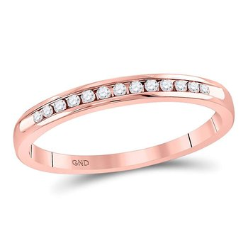 14kt Rose Gold Womens Round Diamond Single Row Channel-set Wedding Band 1/10 Cttw