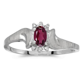 10k White Gold Oval Rhodolite Garnet And Diamond Satin Finish Ring
