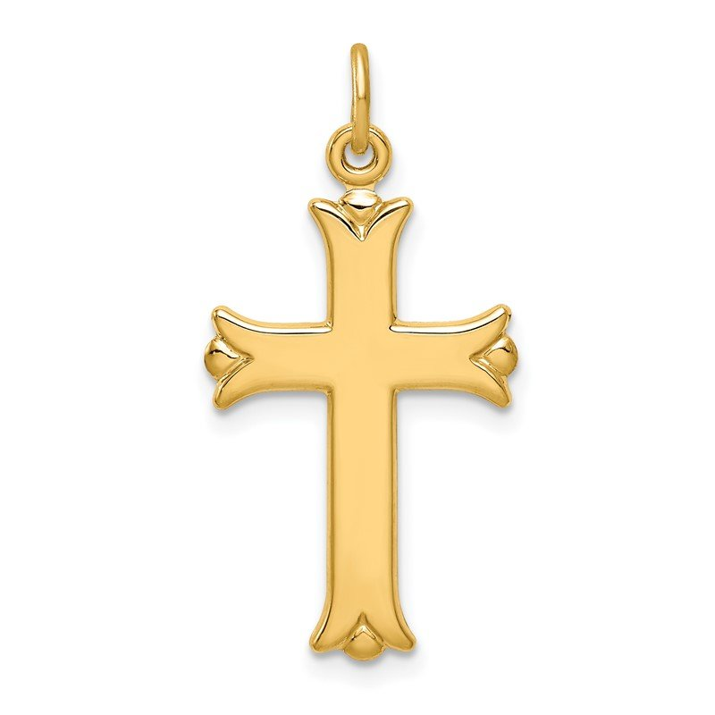 Quality Gold Sterling Silver Gold Tone Polished Cross Pendant