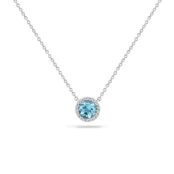 14K ROUND BLUE TOPAZ NECKLACE WITH 18 DIAMONDS 0.05CT 18 INCHES
