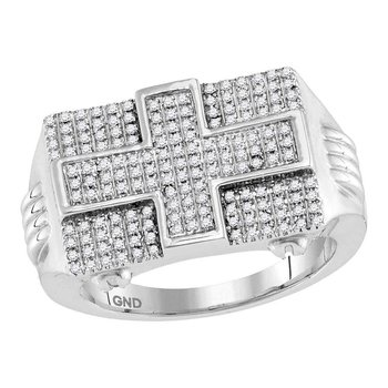10kt White Gold Mens Round Diamond Rectangle Cross Cluster Ring 5/8 Cttw