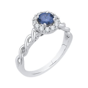 10K White Gold 3/4 Ct Blue and White Diamond Fashion Ring