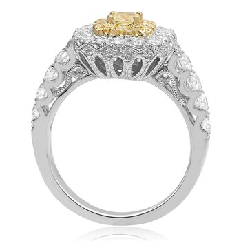 Scallop Shank Yellow Diamond Ring