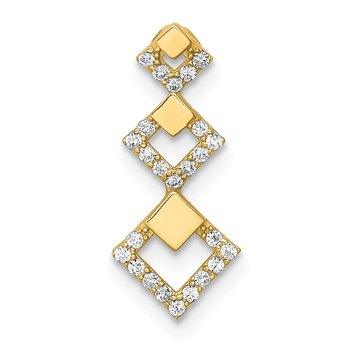 14K CZ Geometric Tiered Chain Slide Pendant