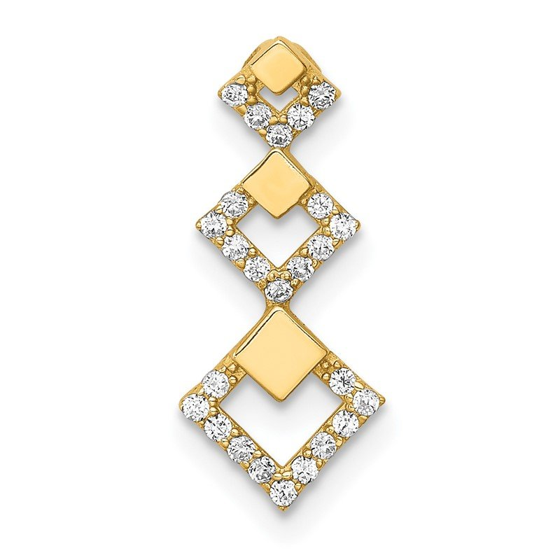 Quality Gold 14K CZ Geometric Tiered Chain Slide Pendant