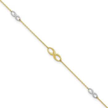 Leslie's 10k Two-tone Polished with 1in ext. Anklet
