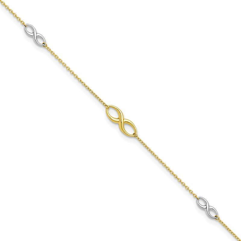 Leslie's Leslie's 10K Two-tone Polished with 1in ext. Anklet