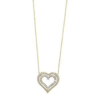 Diamond Double Open Heart Pendant Necklace (1 ctw